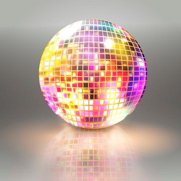 Disco ball isolated illustration. Night Club party light element. Bright mirror color ball design for disco dance club. Vector illustration.