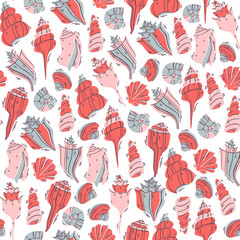 Seashells Drawn in Doodle Style on White Background. Ocean Seamless Vector Pattern.