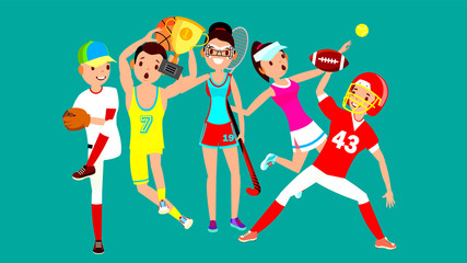 Athlete Set Vector. Man, Woman. Baseball, Basketball, Field Hockey, Tennis, American Football. Group Of Sports People In Uniform, Apparel. Sportsman Character In Game Action. Flat Cartoon Illustration