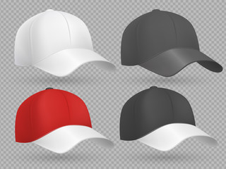 Realistic baseball cap black, white and red vector templates collection isolated on gray