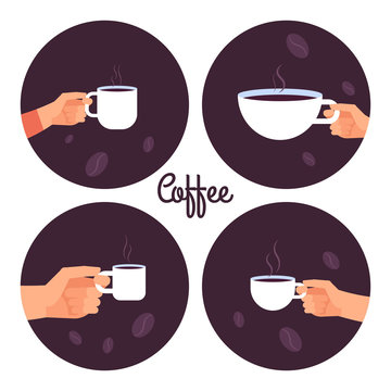 Hands holding cups of coffee vector icons set isolated on white background illustration