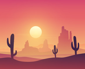 Desert landscape with cactus silhouette on the sunset. Vector illustration
