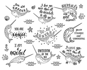 Set of hand drawn cute funny narwhals with inspirational quotes.