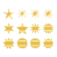 set of trendy shapes of retro stars. sunburst design elements. The golden, brilliant ray of fireworks. Best for sale sticker, price tag, quality mark.