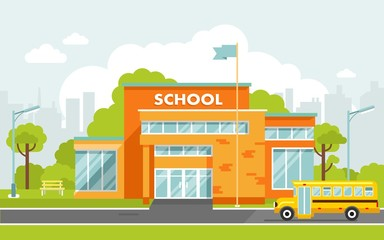 School building in flat style.