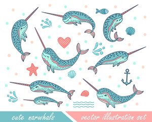 Set of hand drawn cute funny narwhals. Doodle whales for print designs, posters, t-shirts.