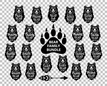 Bear family bundle: Mama, papa, baby, brother, sister, momma, daddy, grampy, grammy, uncle, auntie