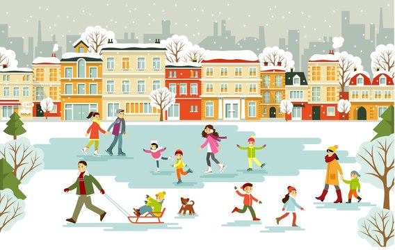Ice rink with different people on city background. Winter holiday scene with chilren, men and women at the park ice skating rink.