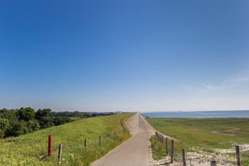 Dike road on the Wadden island of Texel, Netherlands