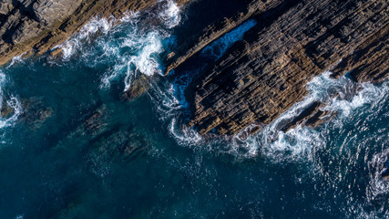 Aerial view of cliffs and Waves Atlantic coast Portugal