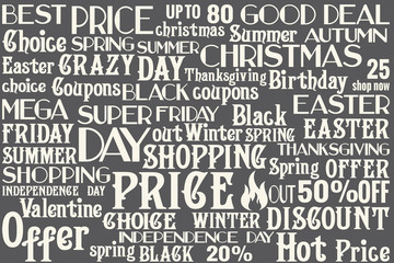 Big lettering SALE set for every season, birthday, special day, holiday sales, universal vintage words kit for any shops, firms, studios, web- design, flyers, posters, labels and bages Part 3
