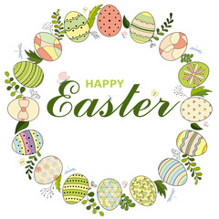 Colorful Happy Easter greeting card with eggs wreath and text. Easter background. Hand drawn vector illustration
