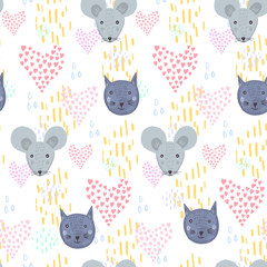 Cute cartoon seamless pattern with gray mice and blue cats heads with pink hearts and yellow lines on white background. Funny hand drawn texture for kids design, wallpaper, textile, wrapping paper
