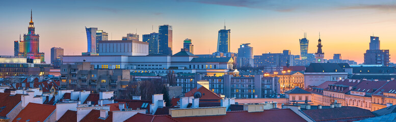 Panoramic view of Warsaw at sunset