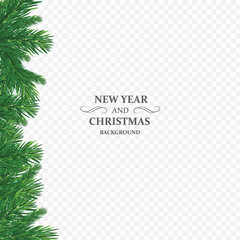 Background with vector christmas tree branches and space for text. Realistic fir-tree border, frame isolated on white. Great for christmas cards, banners, flyers, party posters
