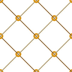 Baroque check seamless pattern with chains. Vector patch for fabric, scarf