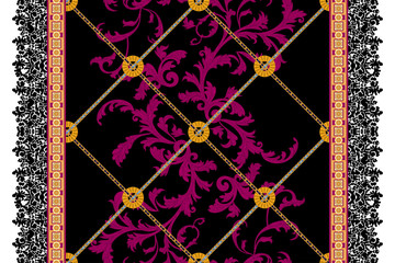 Baroque seamless pattern with chains and leaves. Vector modern patch for scarf