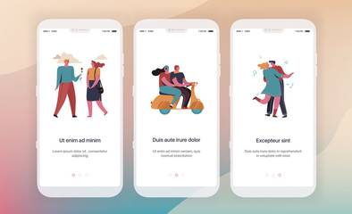 Dating, social networks, communication. Design of mobile application intro screens. Application templates concept Vector onboarding illustration flat design