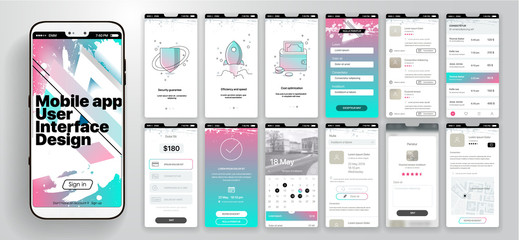 Design of the mobile application, UI, UX. A set of GUI screens with login and password input, home page, news feed, rating and statistics, settings and payment.