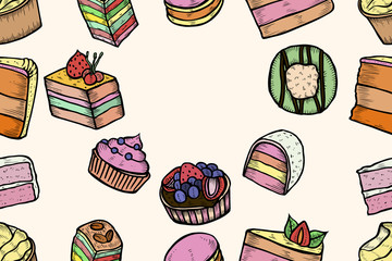 Sweets and bakery set.