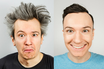 two young men: on the left before the haircut with long gray hair, untidy, overgrown, on the right trimmed well-groomed guy with a stylish haircut. Concept with real photos