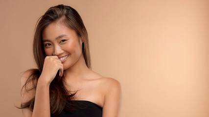 thai asian model laughing happy smiling. Natural emotional portrait
