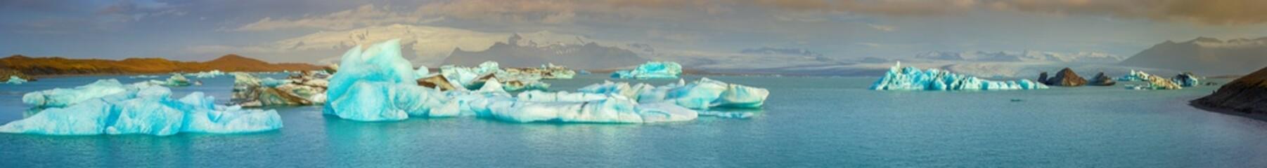 Scenic panorama view of Glacier Lagoon, Jokulsarlon, on South Iceland, Travel Destinations Concept