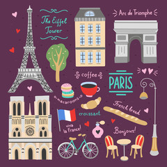 Paris cute vector graphics. French lifestyle elements and illustrations. Visit France icon set