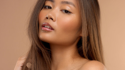 sensual asian japanese model with ideal skin portrait
