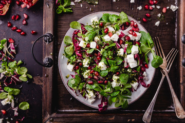 fresh winter salad with pomegranate seeds