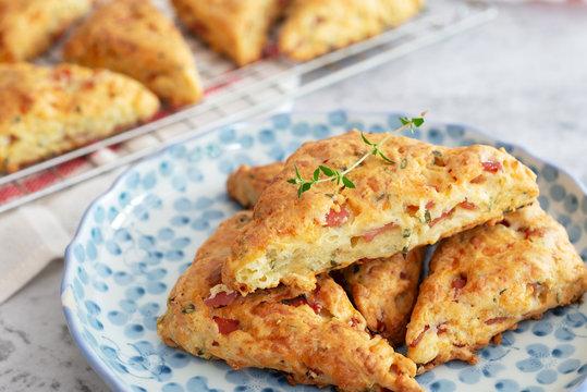 breakfast and brunch homemade fresh baked ham cheese scones