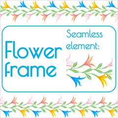Seamless brush for a photo frame of flowers. Vector.