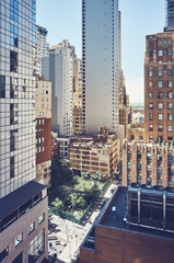 New York cityscape, cinematic color toning applied, USA.