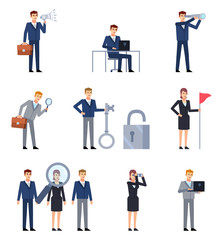 Set of business characters showing different search actions. Businessman holding spyglass, laptop, big magnifier over group of business people. Flat style vector illustration