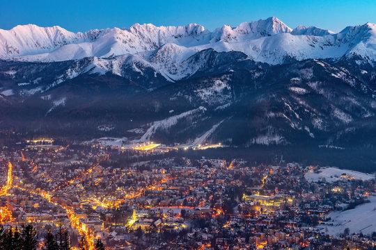 Zakopane by night, Mountains Tatry landscape, Poland, Europe