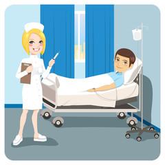 Nurse Hospital Man Ill Bed