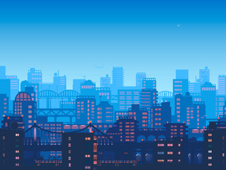 City at night. town in flat style design.Panorama of the big city at night