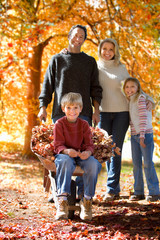 Portrait of family working collecting autumn leaves in garden