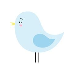 Vector Cartoon style Cute Blue Sleeping Bird Isolated kawaii