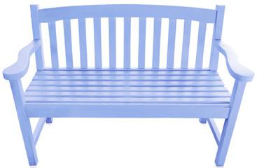 banc de jardin en bois bleu, fond blanc