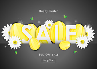 Easter day sale off background with paper eggs shape and spring flower vector