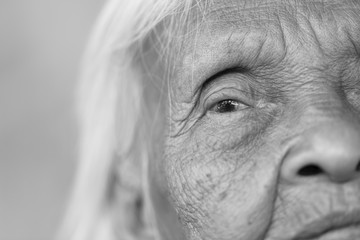 Close up of Senior asian woman, Thailand, Black and white