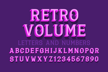Retro volume letters and numbers. Vintage 3d font. Isolated english alphabet.