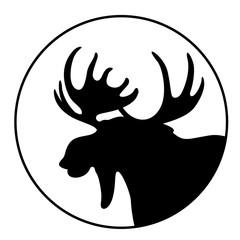 cartoon  moose ,vector illustration , black silhouette ,profile