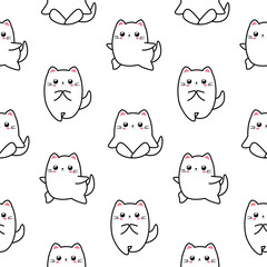 Adorable cat seamless patter, kitten character. Kawaii animals illustration. Cute cat in different yoga poses.