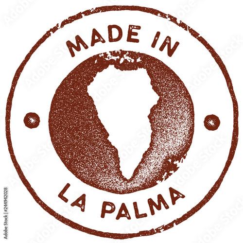 La Palma map vintage stamp. Retro style handmade label, badge or ...