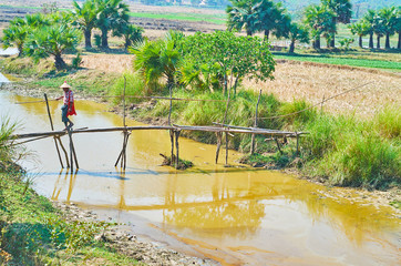 Primitive bamboo footbridge, Bago suburb, Myanmar