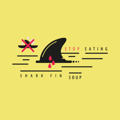 Stop eating shark fin soup vector icon illustration on yellow background