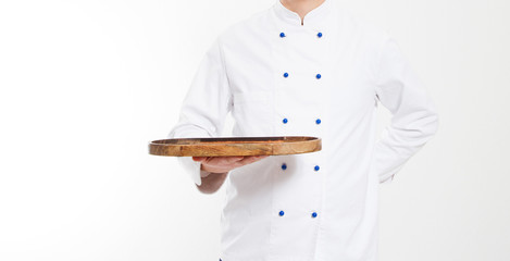 chef hold empty board isolated on white background,food and culinary concept