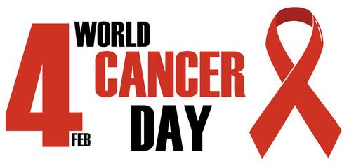 World Cancer Day, red, black logo concept design